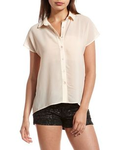 Gold Shimmer Button-Down Blouse: Charlotte Russe
