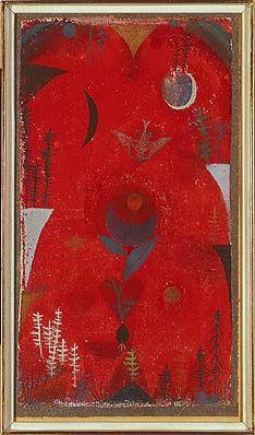 Paul Klee, Blumenmythos, 1918, 82  Aquarell auf Kreidegrundierung auf Gaze auf Zeitungspapier auf Silberbronzepapier auf Karton, 29 x 15,8 cm  © VG Bild-Kunst, Bonn 2008