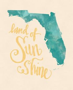 Celebrating the endless sunshine of Florida with this bright print. This print is 8 x 10 inches, suitable for ready-made framing.
