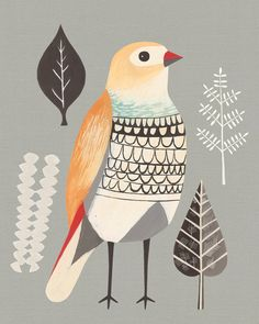 Color Inspiration Daily: 12 - Home - Creature Comforts - daily… Gravure Illustration, Bird Illustration, Guache, Creature Comforts, Bird Art, Beautiful Birds, Line Drawing, Color Inspiration, Art Paintings