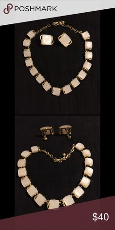"Coro Vintage Necklace & Clip Earrings Pearl white beads set in gold tone 17"" necklace & matching earrings. Excellent condition. Vintage Coro Jewelry"