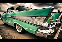 57 chevy Belair  I love this care. Color too.  If I ever win the lotto, this will be in my garage!