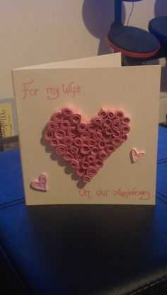Handmade Quilled heart card by Lorrainearty on Etsy