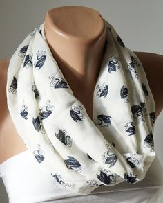 Infinity Scarf Loop Scarf  handmade from cream with swan by Periay, $15.00