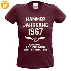 Geburtstagsgeschenk T-Shirt Frauen Geschenk Zum 50. Geburtstag Hammer Jahrgang 1967 - Damenshirt - Freizeitshirt Frauen Farbe: burgund Gr: M (*Partner-Link)