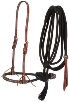 Premium leather bosal hanger features basketweave tooling, double buckle adjustment and leather tie bit ends. two tone rawhide bosal with cord mecate with basketweave leather popper and horsehair end. Equestrian Boots, Equestrian Outfits, Equestrian Style, Equestrian Problems, Tack Shop, Western Horse Tack, Western Saddles, English Saddle, Types Of Horses