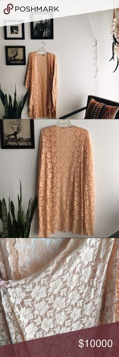 Amuse society rose lace kimono Approximately 38 inches long. One size fits most. Cotton, nylon, spandex blend Amuse Society Tops