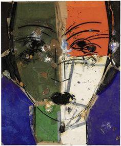 'Marie Jossette' (2003) by painter Manolo Valdés (b 1942). oil and burlap collage on burlap
