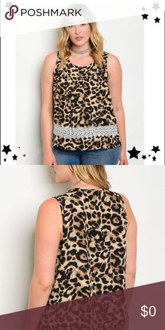 💎HP💎🌹Plus Sizes 1X, 2X, 3X 💎JUST IN!!🌹Plus Size Trendy Black Animal Print Top. Feels so silky! Has beautiful lace across bottom front.  Beautiful and attractive blouse.  100% Polyester. Tops