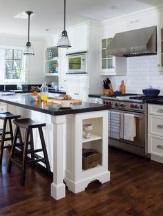 I like the red stove knobs. Country Kitchen, New Kitchen, Kitchen Ideas, Home Kitchens, Rustic Kitchens, Humble Abode, Beautiful Homes, Kitchen Design, Sweet Home