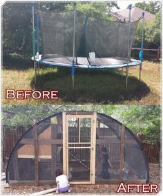 "Build Homesteading Trampoline Chicken Coop Project Homesteading  - The Homestead Survival .Com     ""Please Share This Pin"""