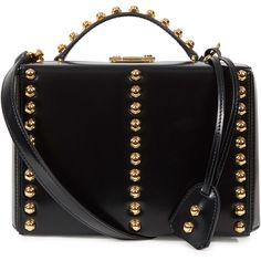 Mark Cross Grace Studded Leather Box Bag ($3,400) ❤ liked on Polyvore