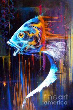 Abstract Fish Painting  - Abstract Fish Fine Art Print