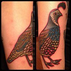 Tron @ Thicker Than Water, NYC Back Tattoo, I Tattoo, Quail Tattoo, American Traditional, Make Your Mark, Traditional Tattoo, Beautiful Birds, Body Art, Quails