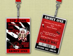 invitations for rock and roll parties   Personalised Rock and Roll VIP Lanyard Birthday Invitations x 10 ...