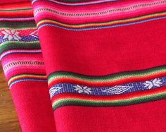 South American Fabric, Aguayo, Woven Textile, Dark Pink Stripes
