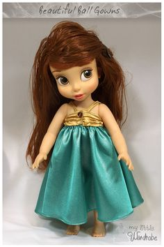Disney Animator Doll Clothes - Gold and green ball gown