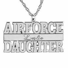 Personalized Airforce Daugther Name Pendant Necklace ($375) ❤ liked on Polyvore featuring jewelry, necklaces and pendant necklace