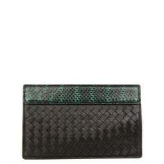 40% off Bottega Veneta - Leather Snakeskin Clutch Intrecciato Elaph Black Green - $597.00