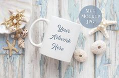 Mug Mockup - Summer Shells by WanderlustLens on @creativemarket