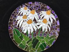 Coneflowers By Cascading Wood Designs- Jane Litwin Taylor Recycled Stained Glass on Wood