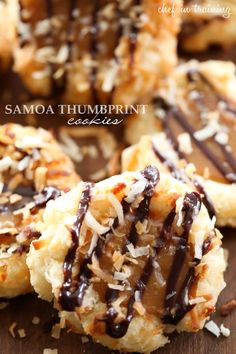 Samoa Thumbprint Cookies... Soft shortbread cookies filled with a gooey caramel and coated in delicious toasted coconut and chocolate drizzle. A spin on the classic girl scout cookies