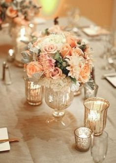 peach romantic vintage reception wedding flowers, wedding decor, peach wedding flower centerpiece, pink wedding flower arrangement, add pic source on comment and we will update it. Vintage Wedding Centerpieces, Vintage Wedding Flowers, Wedding Table Flowers, Wedding Table Decorations, Wedding Table Settings, Wedding Flower Arrangements, Flower Centerpieces, Gold Wedding, Floral Wedding