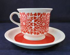 Finland Arabia Tytti coffee cup and saucer- love this tomato red design.