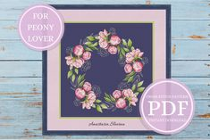 """Peonies wreath"" is counted cross stitch pattern with popular spring flower. The embroidered design is a perfect gift for a wedding or it will perfectly decorate the pillow in the living room or other part of your home. This is a simple and easy cross stitch. Modern Cross Stitch Patterns, Counted Cross Stitch Patterns, Cross Stitch Designs, Cross Stitch Embroidery, Easy Cross, Simple Cross Stitch, Spring Design, Digital Pattern, Spring Flowers"