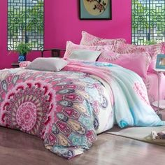 Peach Pink and Sky Blue Bohemian( BOHO ) Tribal Pattern Abstract Design Exotic Western Indian Style 100% Tencel Full, Queen Size Bedding Sets