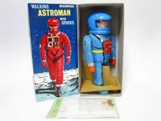 Walking ASTROMAN w/ Sparks Robot BLUE Osaka Tin Toy Wind up Made in JAPAN 434 #OsakaTinToy