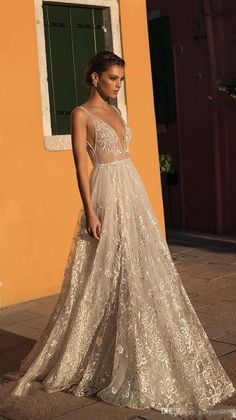 Gali Karten 2019 A line Boho Wedding Dresses Bridal Gowns Sexy Bohemia Deep V Neck Lace Appliqued Backless Tulle Floor Length with Beading Wedding Dress Black, Western Wedding Dresses, Affordable Wedding Dresses, Wedding Dress Styles, Dream Wedding Dresses, Bridal Dresses, Wedding Gowns, Maxi Dresses, Backless Wedding