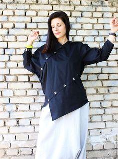 Купить Асимметричная рубашка - Черная B0002 - черный, белая рубашка, черная рубашка, рубашка