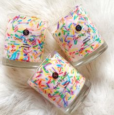 THE MOST UNIQUE CANDLES....🌈 Our Sprinkle Candles are LIVE!! Fragranced in Pink birthday cake (naturally) and with a massive 80+ hours burn time!...