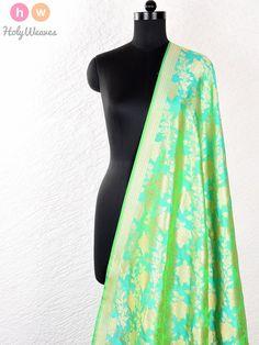 Green Handwoven Katan Silk Cutwork Brocade Fabric - HolyWeaves - 1