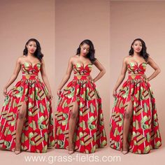 Vivid red African print maxi skirt and top African Prom Dresses, Latest African Fashion Dresses, African Print Fashion, Africa Fashion, African Attire, African Wear, African Dress, Mode Style, Traditional Outfits