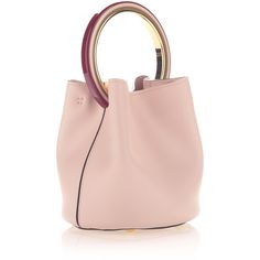 Marni Small Top Handle Bag in Leather (6.850 BRL) ❤ liked on Polyvore featuring bags, handbags, leather handbag tote, leather purses, top handle handbags, pink leather tote and tote handbags