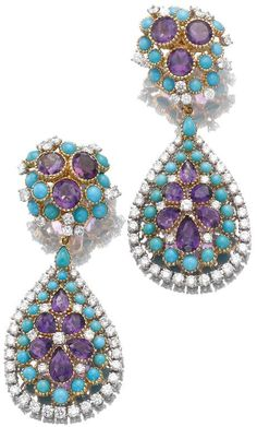 Pair of turquoise, amethyst and diamond pendent earrings, Cartier. Each surmount… Cartier Jewelry, Bling Jewelry, Turquoise Jewelry, Jewelry Box, Jewelry Accessories, Jewelry Design, Jewellery, Cheap Jewelry, Amethyst Jewelry