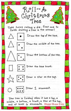 FREE.  Get this great game to add to your math center this December for free.  Perfect for recognizing dot patterns and following directions.  Read more and get your FREE download at:  http://happyhomefairy.com/2014/12/17/roll-a-christmas-tree-game-free-printable/