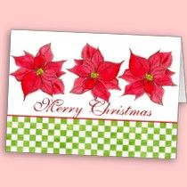 Red Poinsettia Flower Christmas Card Watercolor