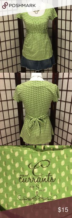 Green & Dotted Blouse Cute blouse, ties in back. Machine wash. Accessories not included. Currants Tops Blouses