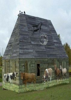 Old barn with murals - love the cow jumping over the moon! I want a barn just so I can do this, plus I love barns. Wooden Barn, Rustic Barn, Country Barns, Country Life, Country Living, Barn Living, Country Roads, Country Charm, Barn Art