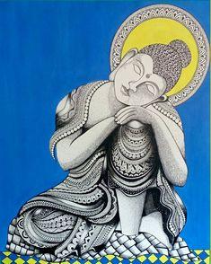 """"""" The mind is everything . What you think you become """" ~ Buddha. Explore this titled """" Sleeping Buddha """" by Artist… Madhubani Art, Madhubani Painting, Mandala Painting, Mandala Art, Kalamkari Painting, Buddha Canvas, Buddha Art, Budha Painting, Buddha Drawing"""
