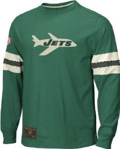 Reebok New York Jets Logo Long Sleeve Embroidered Throwback Shirt (XXL=52) - Official NFL T-Shirts and Hoodies at 5Star-Sports.net