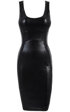 Black Fitted Leather Dress