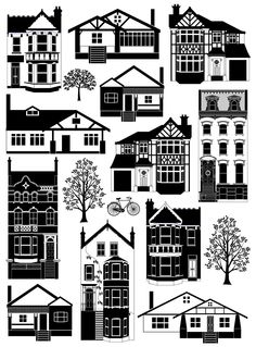 Mixed houses digital art print in black and white