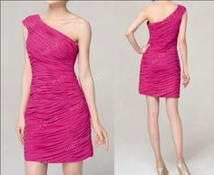 hot pink bridesmaid dress, short bridesmaid dress, one shoulder bridesmaid dress.