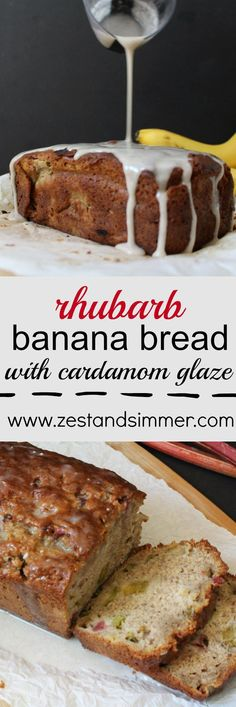 Rhubarb Banana Bread with Cardamom Glaze - Zest & Simmer - - This banana bread is moist, sweet with a hint of tartness and the cardamom glaze really makes this one stand out in a crowd! This is a perfect way to use up your remaining rhubarb. Rhubarb Desserts, Rhubarb Cake, Köstliche Desserts, Delicious Desserts, Rhubarb Loaf, Rhubarb Cookies, Rhubarb Scones, Health Desserts, Banana Bread Recipes