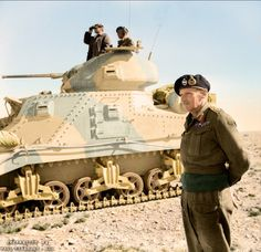 """General Montgomery stands beside a Grant command tank near Tripoli, 27th January 1943. The Medium Tank M3 was an American tank used during World War II. In Britain the tank was called by two names based on the turret configuration. Tanks employing US pattern turrets were called the """"Lee"""", named after Confederate General Robert E. Lee. Variants using British pattern turrets were known as """"Grant"""", named after U.S. General Ulysses S. Grant. Of the 6,258 M3s produced by the U.S., 2,855 M3s were…"""