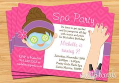 Spa Party Kids Birthday Invitation Mani Pedi by eventfulcards Spa Party Invitations, Invitation Card Birthday, Kids Birthday Party Invitations, Invites, Kinder Spa Party, Spa Birthday Parties, 7th Birthday, Birthday Cakes, Birthday Ideas
